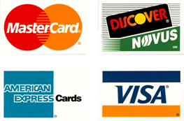 Credit Cards Accepted - Visa, Mastercard, American Express, Discover